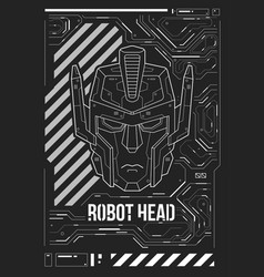 Futuristic poster with a robot head template for vector