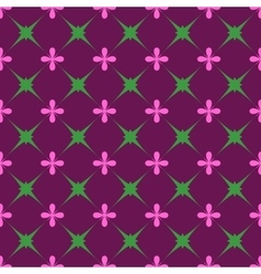 Green star and pink flower seamless pattern vector