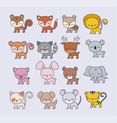 group cute animals vector image