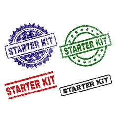 grunge textured starter kit stamp seals vector image