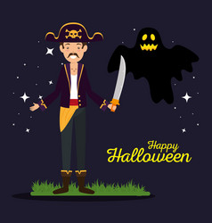 halloween card with pirate and ghost vector image