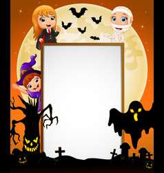 Halloween sign with dracula and mummy and witch an vector