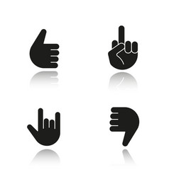 Hand gestures drop shadow black icons set vector