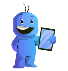 happy blue cartoon caracter with a tablet on vector image