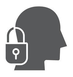 head lock glyph icon protection and person vector image