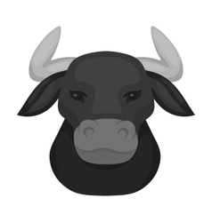 Head of bull icon in monochrome style isolated on vector image