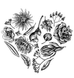 Heart floral design with black and white viburnum vector
