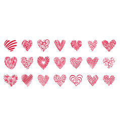 heart love valentines day hand drawn doodle icons vector image