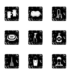 House cleaning icons set grunge style vector image