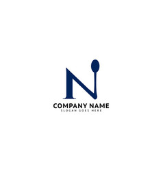 Initial letter n with spoon for restaurant logo vector