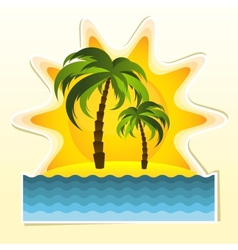 Island with two palms and sun vector image