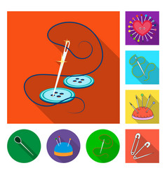 isolated object of pin and sewing icon collection vector image
