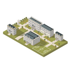 Isometric university campus concept vector