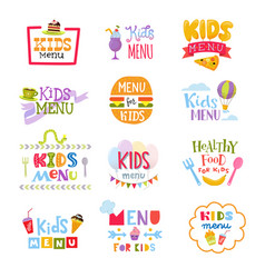 Kids menu lettering template for child s vector