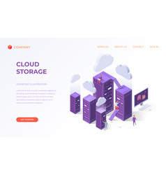 Landing page for cloud data storage vector