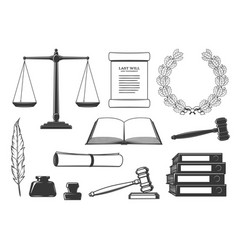 Law court and criminal justice system icons vector