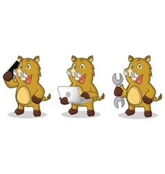 Light Brown Wild Pig Mascot with laptop vector image