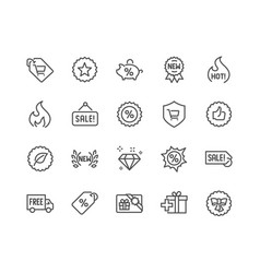 Line shopping features icons vector