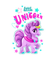 Little cute cartoon unicorn label vector