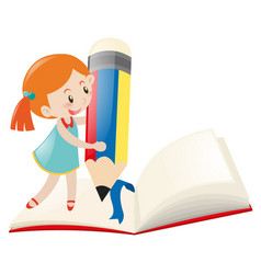 Little girl writing on notebook vector