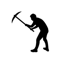man icon with pickaxe vector image