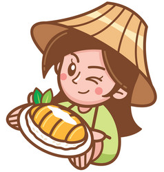 Mango sticky rice vector