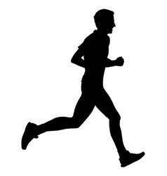 Marathon racer running silhouette sport jogging vector