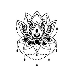 c7ff4ff83c042 Mehndi lotus flower pattern for henna drawing and vector ...