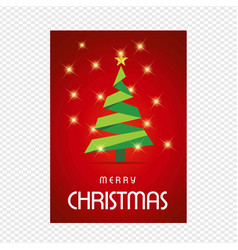 merry chrsimtas with red background and tree vector image