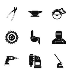 metal processing icon set simple style vector image