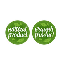 natural organic product lettering with leaf vector image