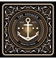 Nautical the voyager retro card vector image