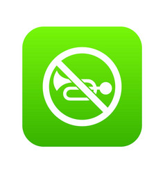 no horn traffic sign icon digital green vector image