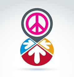 Peace propaganda icon with arrows working and vector image
