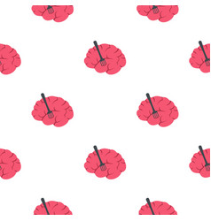 Pink brain with fork pattern seamless vector