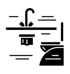 Plane toilet glyph icon vector