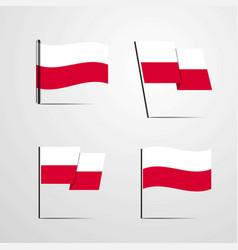 Poland waving flag set design vector
