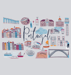 Portugal set portuguese elements vector