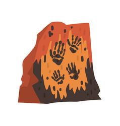 Prints palms prehistoric people on stone vector