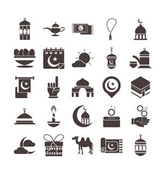 Ramadan arabic islamic celebration icon set vector