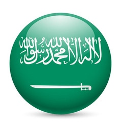 Round glossy icon of saudi arabia vector
