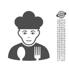 Sad cook icon with bonus vector