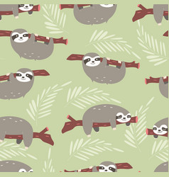 Seamless pattern with cute jungle sloths on green vector