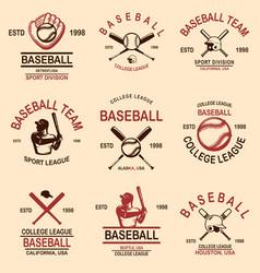set baseball emblems design element for logo vector image