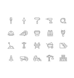 set of construction and repair line icons vector image