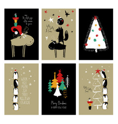 Set of retro funny christmas cards vector