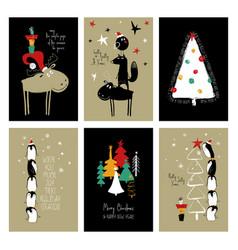 set retro funny christmas cards vector image