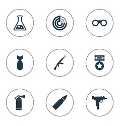 Set simple army icons vector