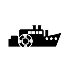 Ship and life preserver icon vector
