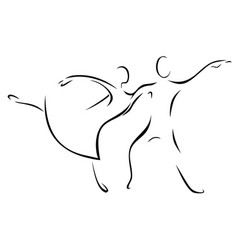 sketch of a dancing woman and man vector image